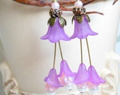 Lilac Tulip Spring Earrings,Purple Pink Wedding Bridal Earrings,Long Earrings
