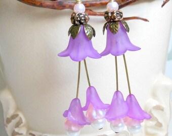 Lilac Tulip Spring Earrings,Purple Pink Wedding Bridal Earrings,Long Earrings