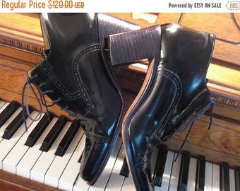SUMMER SALE 80s PERFORATED Leather Oxford Heels Vintage Brazilian Black Genuine Leather Cap Toe Lace Up Ankle Boots Stacked Heels Booties 8.