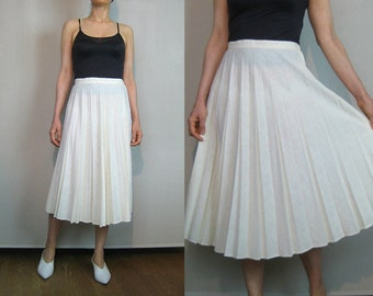 70s White WOVEN COTTON Pleated Skirt Vintage 70s White Cotton Skirt 70s Woven Cotton Skirt 70s 80s White Cotton Pleated Skirt