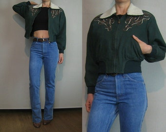 70s 80s EMBROIDERED GREEN CROPPED Vintage Forest Green Cotton Faux Shearling Sherpa Crop Bomber Flight Jacket xs Small s/m 1970s 1980s