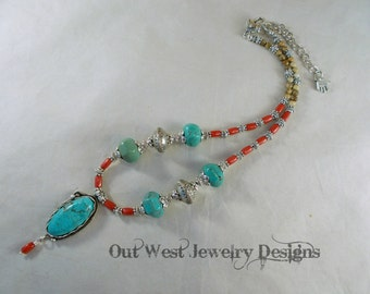 Western Cowgirl Necklace Set - Aqua Howlite Turquoise with Coral and Jasper