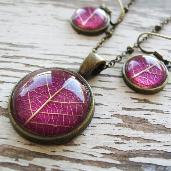 Real Botanical Jewelry Set - Pink Leaf Jewelry Set
