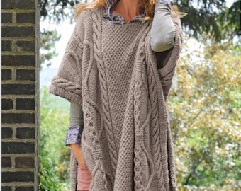 Knitting Pattern Poncho Instant Download PDF Pattern Knitting Poncho Pattern  Knitted Women Girl Poncho Stylish Modern Look