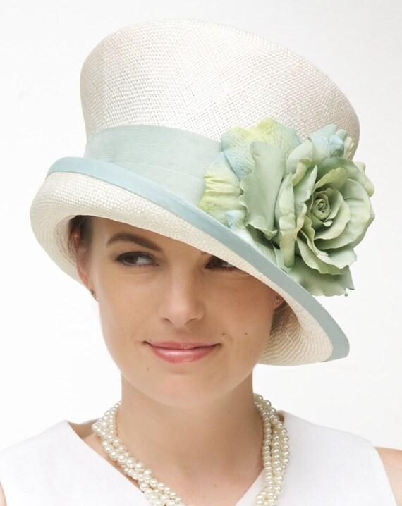Wedding Hat, Church Hat, Formal Hat, Cream Hat, Cloche, Dressy Summer Hat, Garden Party hat, Women's aqua hat, Tea Party Hat, Green blue Hat