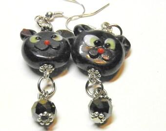 Halloween Earrings, Sterling Silver Black Cat Earrings, Artisan Lampwork Halloween Jewelry, Black Cat Jewelry, Autumn Earrings, OOAK