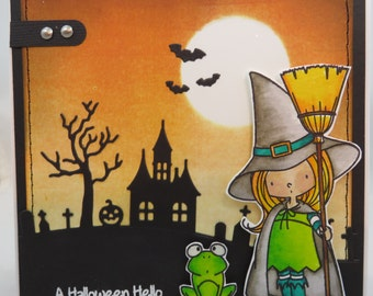 Halloween Witch Scary Night - Handmade Watercolored Greeting Card