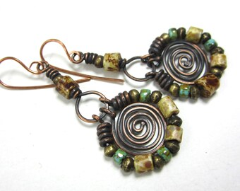 Frida ... artisan statement earrings rustic primitive turquoise gypsy bohemian copper spirals Czech Picasso beads wire wrapped