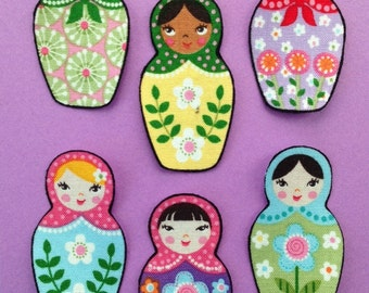 Set of 6 Adorable Matryoshka Doll Appliques*Handmade*Robert Kaufman Fabric/264