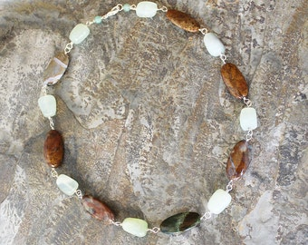Natural Stone Necklace, Jasper Necklace, Prehnite Necklace, Light Green Necklace, Brown Necklace, Handmade Necklace, Earthy Necklace
