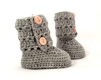 Gray Crochet Baby Booties Merino Wool Newborn Crib Shoes Baby Slippers Knitted Baby Booties Girl Baby Gift by Warm and Woolly on Etsy