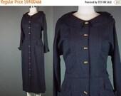 40% OFF 50s Dress Vintage 1950s Button Front Black Red Fleck Platter Collar Day Dinner Career M 10