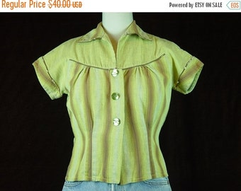 40% OFF 40s Blouse Yellow Ombre Cotton Vintage 1940s Short Sleeve Top Shirt Cropped S M