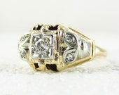 1940s Vintage Engagement Ring, Old European Cut Diamond Engagement Ring with Leaf Pattern & Pierced Design, 14 Carat Gold.
