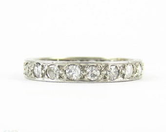 Antique Diamond & Platinum Eternity Ring, Full Hoop Diamond Wedding Band with Engraved Sides. 0.60 ctw, Circa 1900s, Size O / 7.25.