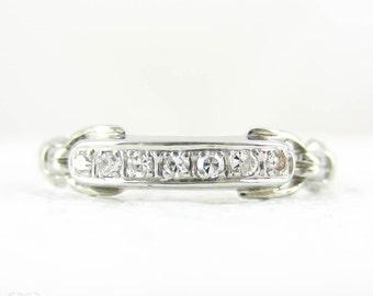 Art Deco Diamond Wedding Ring, 1930s Half Hoop 7 Stone Diamond Ring with Pierced Half HItch Design in 14 Carat White Gold.