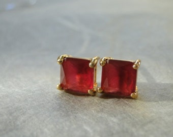 SALE Vintage Ruby Studs, Earrings, Ruby Studs, 18k Gold Plated Studs