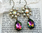 The Wow Factor,Flaming Stars Aurora Borealis Estate Style Vintage Crystal Peacock Jewel Earrings, HollywoodHillbilly