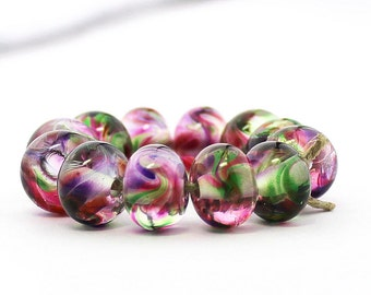 Sheribeads Glass Beads 12 Serenity Garden Spacers Lampwork Transparent Pink Green Purple