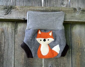 Upcycled  Wool Soaker Cover Diaper Cover With Added Doubler Gray/ Brown With Fox Applique NEWBORN 0-3M Kidsgogreen