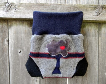 Upcycled  Wool Soaker Cover Diaper Cover With Added Doubler Seafoam Gray/ Navy /Black  With Tree Applique LARGE 12-24M