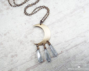 Artemis .:. Maiden Huntress Aged Brass Crescent Moon Necklace with czech glass, extra long chain, bohemian