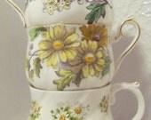 Vintage Tea Cups Lot / Three Tea Cups / yellows / Bright Cheery sunny / Royal Albert / Bone China / Queens China