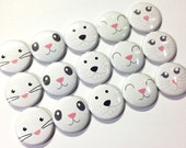 "Rabbit Faces 1"" Buttons, Rabbit Pins, Rabbit Buttons, Rabbit Pinbacks, Rabbit Flatbacks, Rabbits, Easter Party Favor, Easter Buttons, Easter"