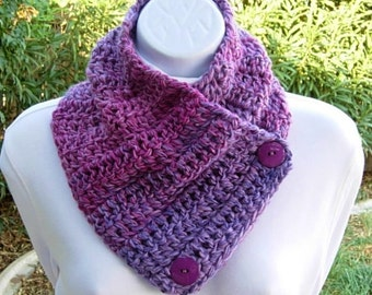 Purple and Pink NECK WARMER Scarf with Buttons, Striped Buttoned Cowl, OOAK Soft Handmade Crochet Knit Acrylic Scarflette..Ready to Ship