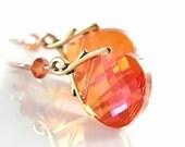Orange Crystal Earrings 14k Gold Filled Hooks RARE Bead Swarovski Orange Earrings Pink Orange Drop Dangle Earrings Orange Jewelry