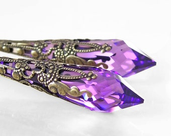 Purple Swarovski Crystal Earrings Antique Gold Brass Eariings Purple Drop Earrings Long Dangle Earrings Violet Amethyst Earrings