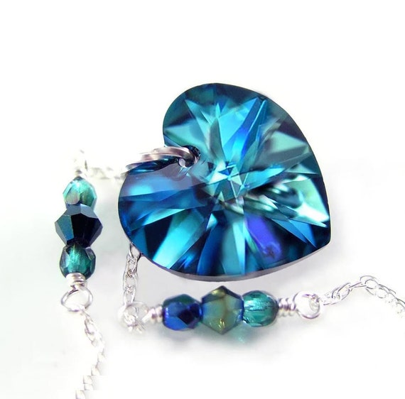Dark Blue Heart Necklace Sterling Silver Necklace Blue Swarovski Crystal Heart Necklace Peacock Blue Heart Pendant Necklace Heart Jewelry