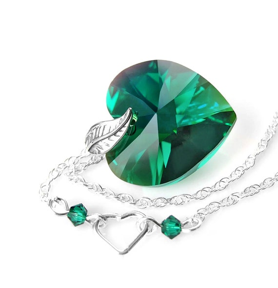 Emerald heart necklace sterling silver necklace swarovski like this item aloadofball Images