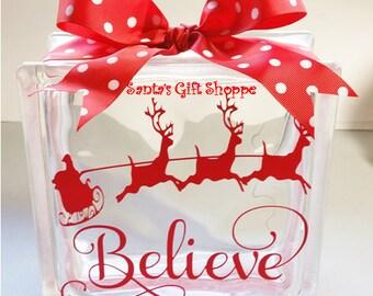 Christmas - Vinyl Lettering - Glass Block Crafts - Believe/Santa/Sleigh & Reindeers - 6.5in. x 6.5in. Christmas Tree -  Great Christmas Gift