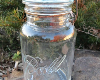 Mason Jars-Old Bale Wire Glass Jars-Ideal Ball Glass Jam Jars-Old Canning Jars-Antique Fruit Jars-Pair Large Farmhouse Glass Storage Jars