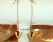 Legend of Zelda Spiritual Stone Goron Ruby 14K Gold Earrings Hooks and Chain Lamp work Glass Beads Handmade Sculpted Custom - Ready To Ship