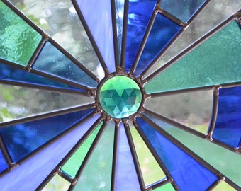 "Stained Glass Framed Panel - ""Ripple Effect"" in Blue"