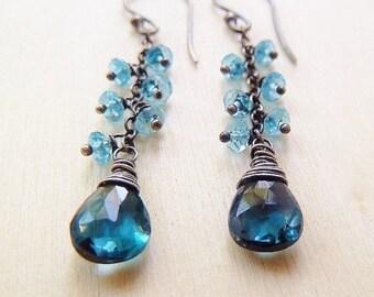 3DAY SALE London Blue Topaz Drop Swiss blue Topaz cluster dangle earrings. December Birthstone earrings. Drop earrings. Teal blue. Topaz ear