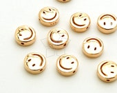 SV-144-RG / 2 Pcs - Smiley Face Bead in 92.5 Sterling Silver, Smile Charm (Small Size), Rose Gold Plated over 925 Sterling Silver / 6mm