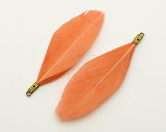 FT-005-SM / 2 pcs - Duck Feather Pendant, Handmade Salmon Pink Dyed Feather Charm, Natural Bohemian Plume Pendant / 50mm