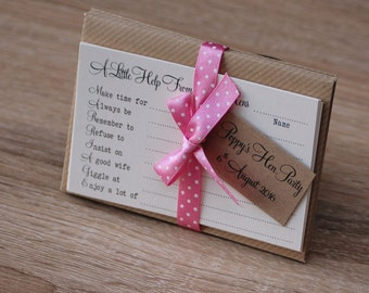 Hen Party Advice Game Cards - kraft and pink - set of 8