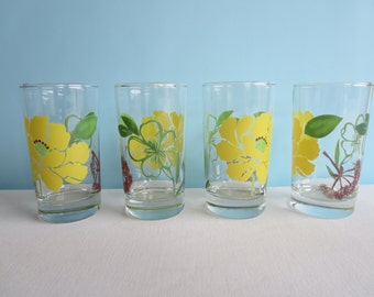 Vintage Yellow and Green Juice Glasses - Mid Century Drinking Glasses