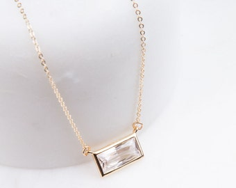 Rectangle Cubic Zirconia Solitaire Necklace in Silver, Gold or Rose Gold, CZ Rectangle Bar Necklace, Layered, Delicate Gold Necklace, CZ Bar