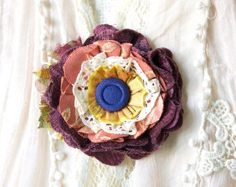 Colorful Fabric Flower Pin, Textile Brooch, Unique Fall Fashion Accessory for Women, Floral Hat Pin, Eggplant Purple, Peach, Blue Corasge