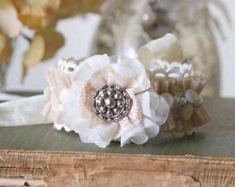 Vintage Button Bracelet, Floral Wrist Corsage, Fabric Cuff Bracelet, Ivory and Beige Textile Cuff, Womens Cuff Bracelet, Shabby Chic Jewelry