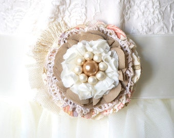 Rustic Fabric Flower, Wedding Corsage, Bridesmaid Dress Floral Pin, Textile Brooch, Peach and Tan Flower Pin, Shabby Chic Sash Pin