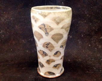 RESERVED FOR JEN. Handcrafted Ceramic Tumbler, Tall Handmade Pottery Tumbler with Fish Scale Pattern, Wood Fired Cup,  Rustic Water Glass.