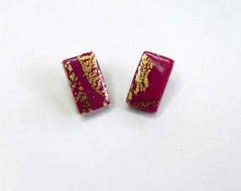 Pink Rectangular Stud Earrings Fuschia Stud Earrings Pink Rectangular Post Earrings Fuschia Post Earrings Hand Made
