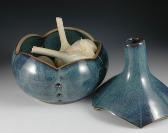 Blue Ceramic Garlic Keeper Sculpted Stoneware Pottery