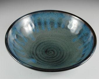 Blue Soup Bowl, Ceramic Salad Bowl, Serving Bowl, Wheel Thrown Stoneware Pottery, by Douglas Bechler - B0056